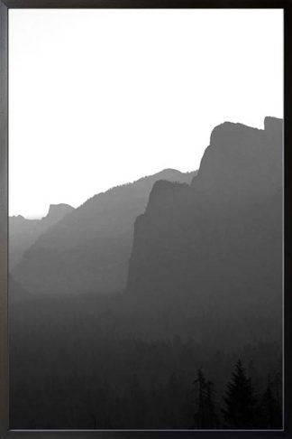 B&W Concrete mountain and trees no. 2 poster with frame