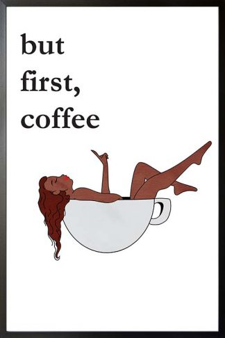Coffee lady in a cup typography poster