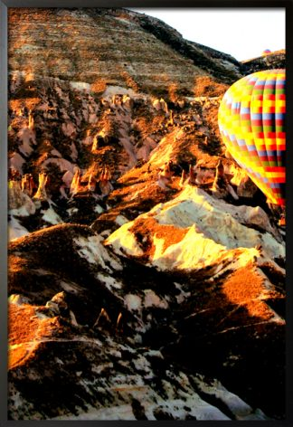 Hot air balloon and rock formation poster with frame