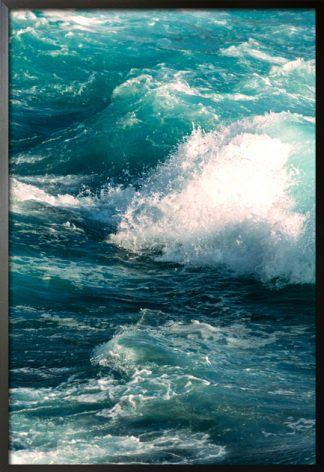 Blue tone waves and splashes poster with frame