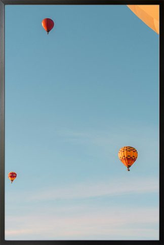 Blue sky and hot air balloon Poster