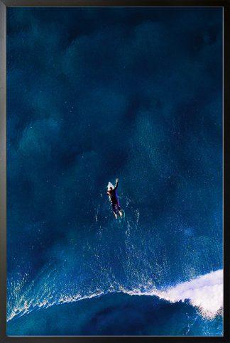 Surfing on a dark blue sea Poster