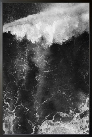 Black and white strong wave Poster