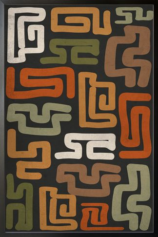 Maze patern shapes Poster