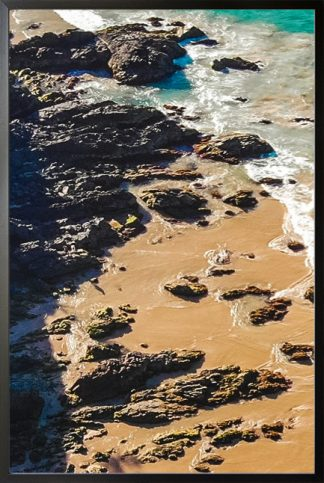 Water, beach and rock Poster