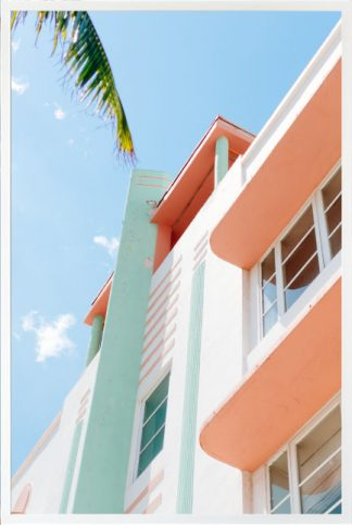 Villa and palm leaves Poster