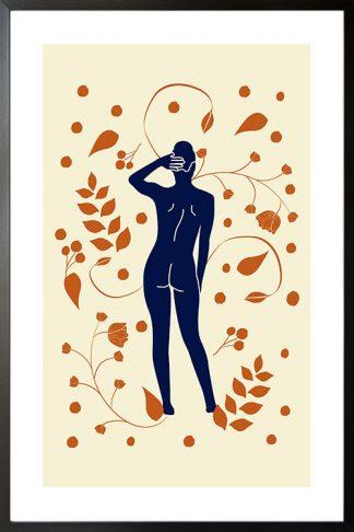 Lady on botanical pattern 3 poster