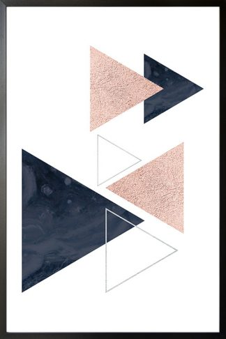 Geometric art triangles and lines with texture poster