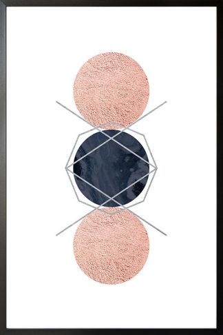 Geometric art 3 circle with texture poster