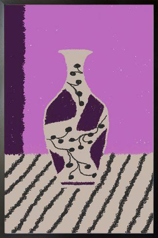 sketch of vase violet tone poster
