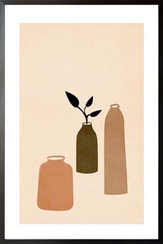 Grunge texture 3 bottle vase poster
