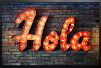 Neon hola sign poster