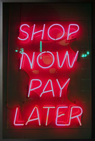 Neon shop now pay later poster