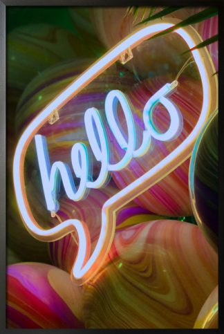 Neon hello sign with marble background poster