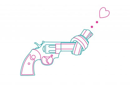 Non violence gun line art with heart poster