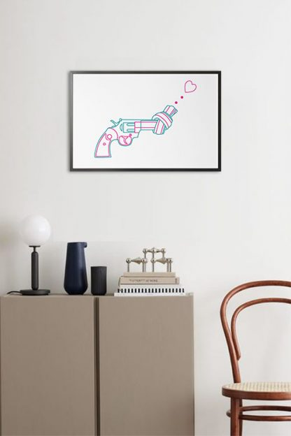 Non violence gun line art with heart poster in interior