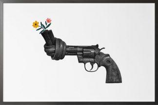 Non violence gun sculpture with flower poster