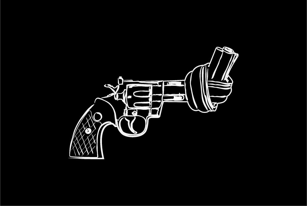 Non violence gun line art on black background poster