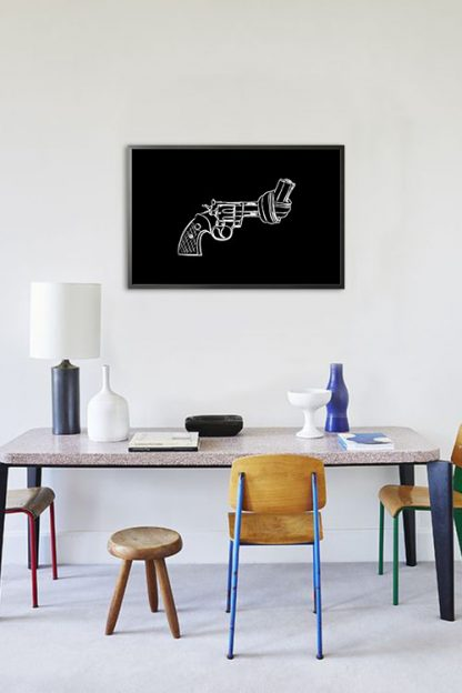 Non violence gun line art on black background poster in interior
