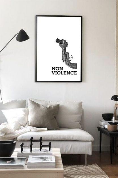Non violence gun aesthetic poster in interior