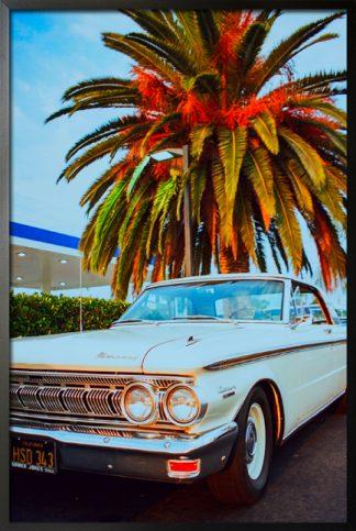 Vintage light blue car poster