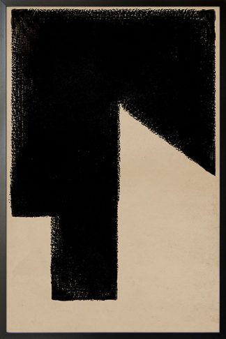 Mid Century art shape Black print no. 1 poster
