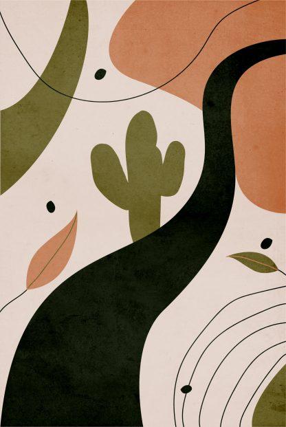 Drawn shapes and cactus no. 1 poster