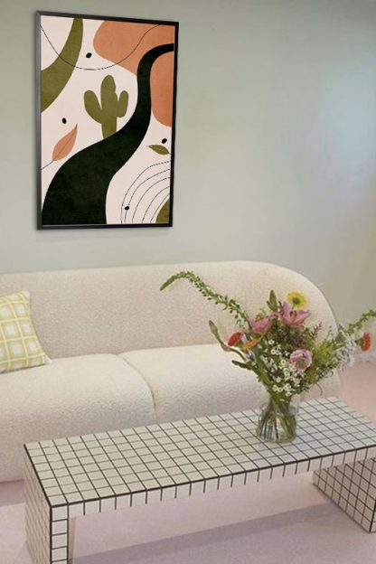 Drawn shapes and cactus no. 1 poster in interior