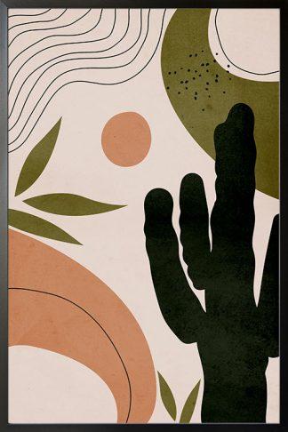 Drawn shapes and cactus no. 2 poster