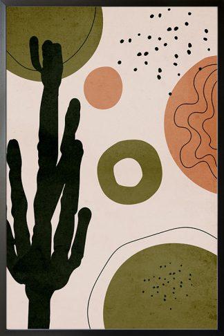 Drawn shapes and cactus no. 3 poster