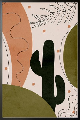 Drawn shapes and cactus no. 4 poster