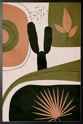 Drawn shapes and cactus no. 5 poster