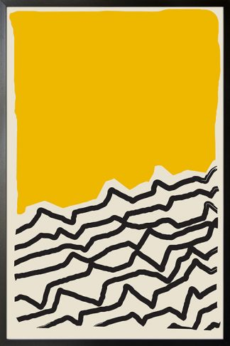 Modern abstract Yellow black poster