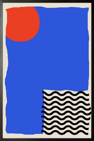 Modern abstract Orange blue black in interior