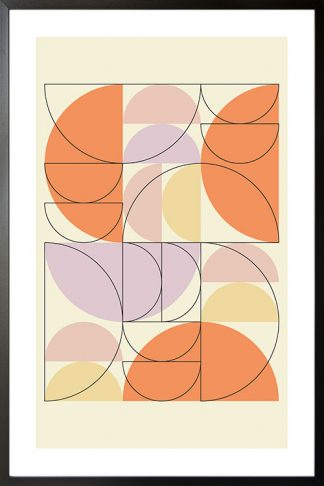 Orange tone half circle and outline poster