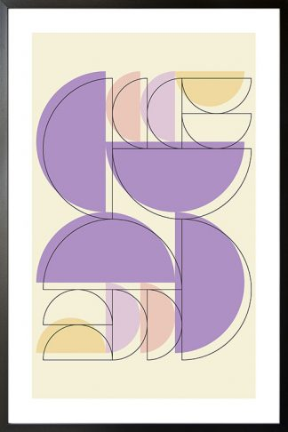 Violet tone half circle and outline poster