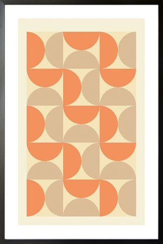 Orange tone half circle poster