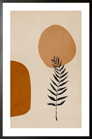 Botanical boho art and shapes poster