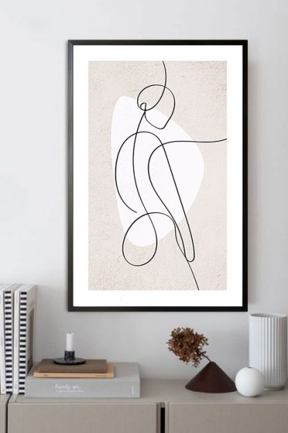 Abstract figure of a women and shape poster in interior
