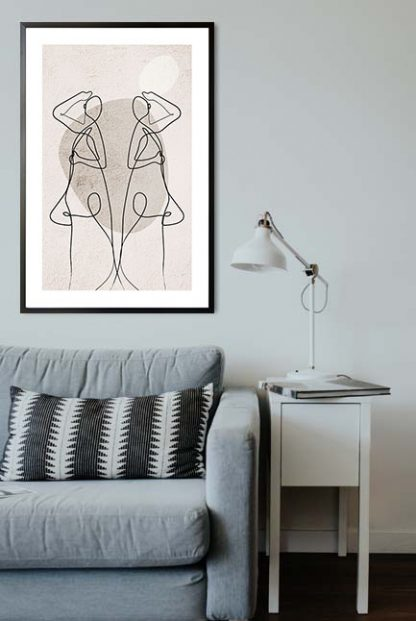 Abstract figure reflection and shapes poster in interior