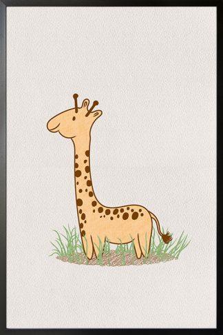 Cute giraffe on grass poster