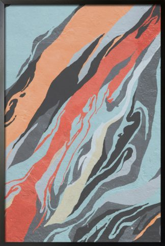 Orange and blue abstract on canvas poster