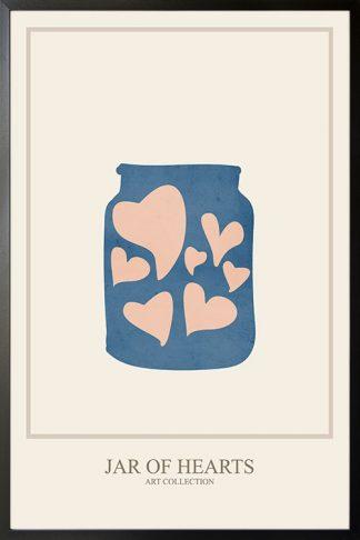 Paper cutout jar of hearts poster