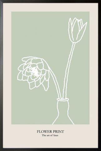 Flower Print Art of lines poster