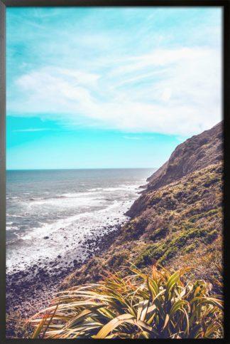 Beach on a blue sky poster