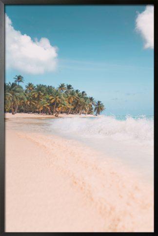 Beach view and water splash poster