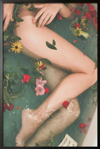 Bathtub filled with flowers poster