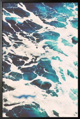 Blue water waves on canvas 2 poster