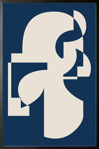 Abstract Blue and shapes poster