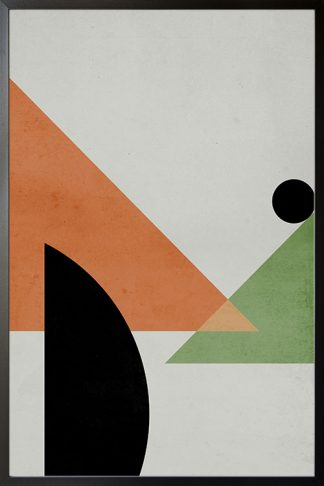 Abstract Triangles and dark circle poster